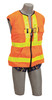 DBI-SALA 1107403 DeltaVest Hi-Vis Reflective Workvest Harness with Reflective orange workvest harness, back D-ring, tongue buckle leg straps (Small)