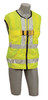 DBI-SALA 1107421 DeltaVestHi-Vis Reflective Workvest Harness with Reflective yellow workvest harness, back D-ring, tongue buckle leg straps (X-Large)