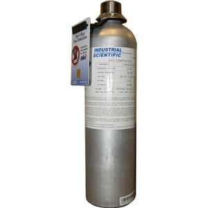 Industrial Scientific 18109193 Cylinder, Calibration Gas, 25 ppm Hydrogen Sulfide, 100 ppm Carbon Monoxide, 2.5% Methane (50% LEL), 18% Oxygen, Aluminum, 650L